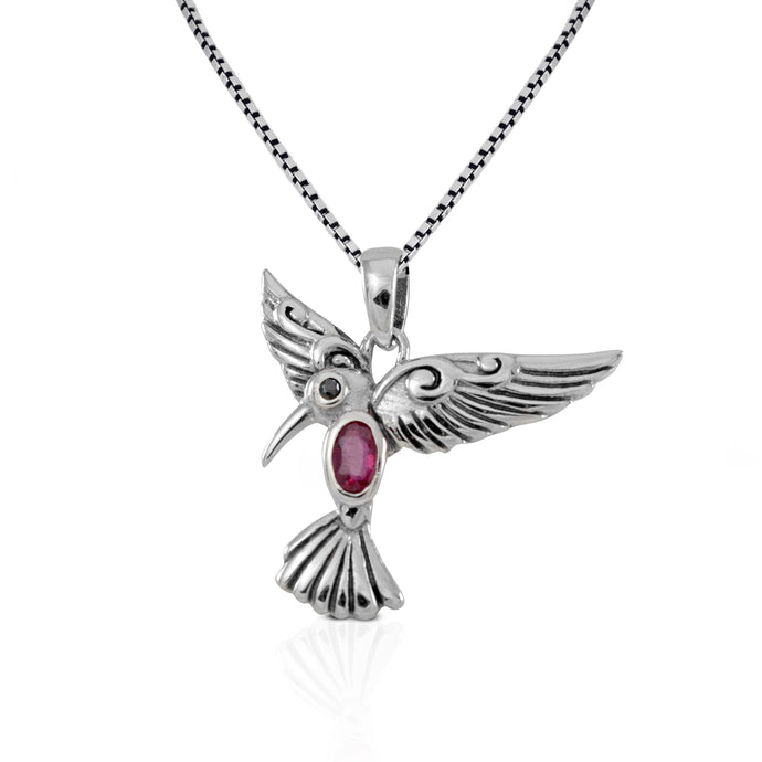 Flying bird pendant with genuine ruby and black cubic zirconia set in 925 sterling silver ,beautiful pendant for women - SUVARNASILVERCO.,LTD