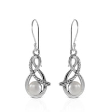 Load image into Gallery viewer, Twisted cable dangle earrings with Natural round fresh water pearl set in 925 sterling silver, beautiful dangle earring for women - SUVARNASILVERCO.,LTD