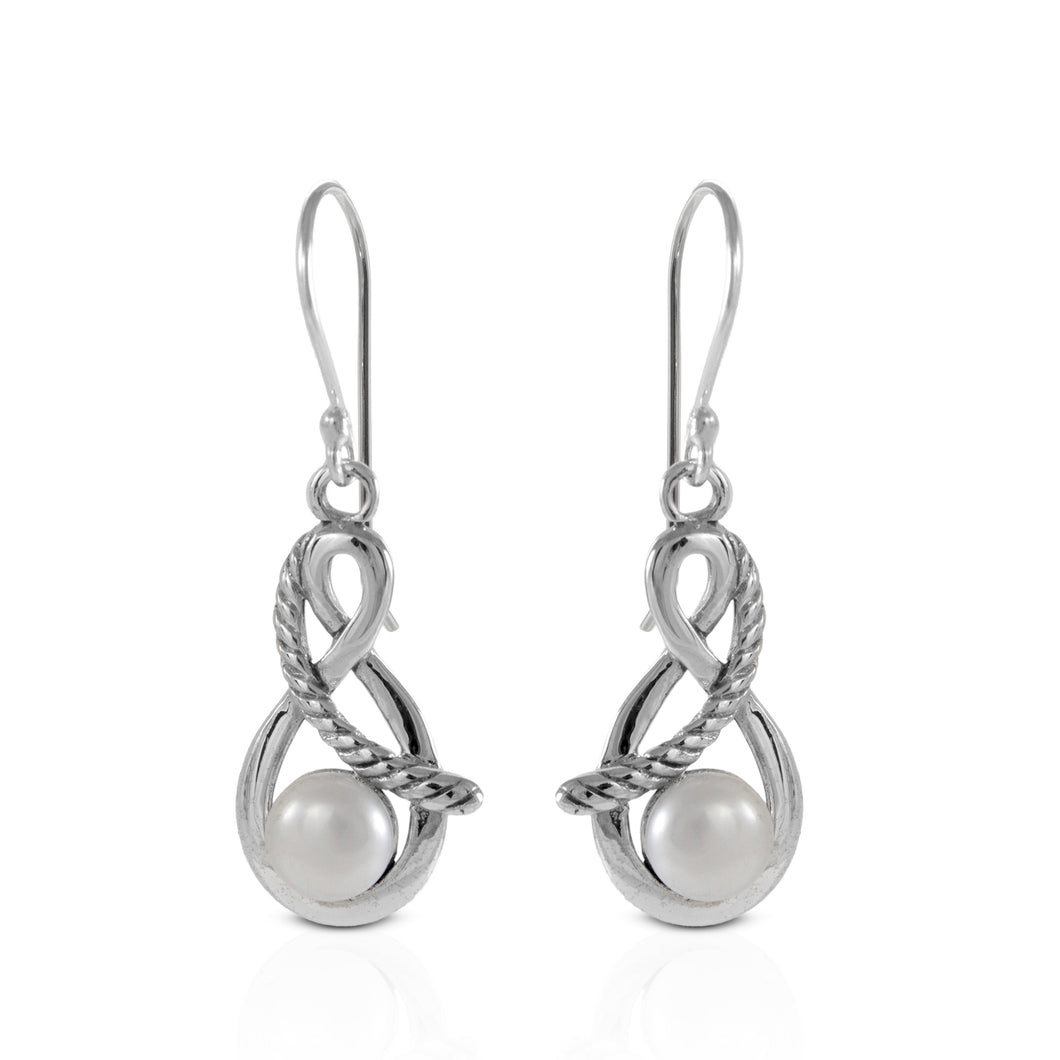 Twisted cable dangle earrings with Natural round fresh water pearl set in 925 sterling silver, beautiful dangle earring for women - SUVARNASILVERCO.,LTD
