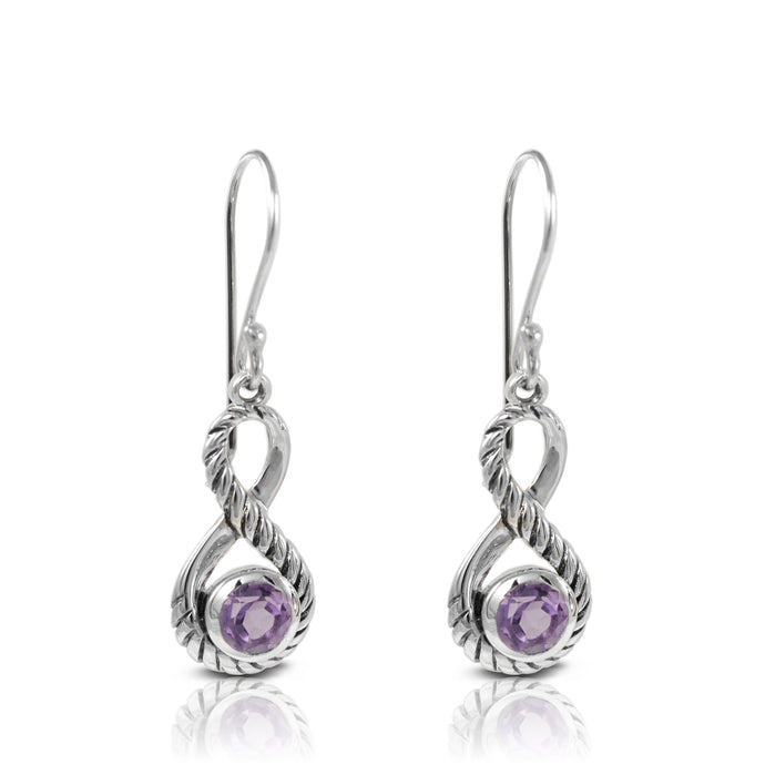 Infinity cable design with genural amethyst dangle earring set in 925 sterling silver - SUVARNASILVERCO.,LTD