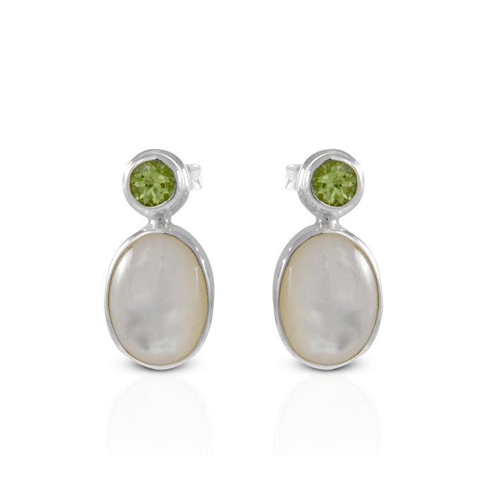 Stone Combination Modern Design 925 Sterling Silver Ear Stud with Genuine Peridot and netural mother of pearl - SUVARNASILVERCO.,LTD