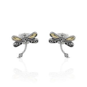 Dragonfly Ear Stud 925 Sterling Silver Ear Stud with 18k Gold - SUVARNASILVERCO.,LTD