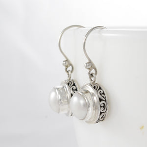Dangle earrings with natural round white freshwater pearl set in 925 sterling silver, beautiful dangle earrings for women - SUVARNASILVERCO.,LTD