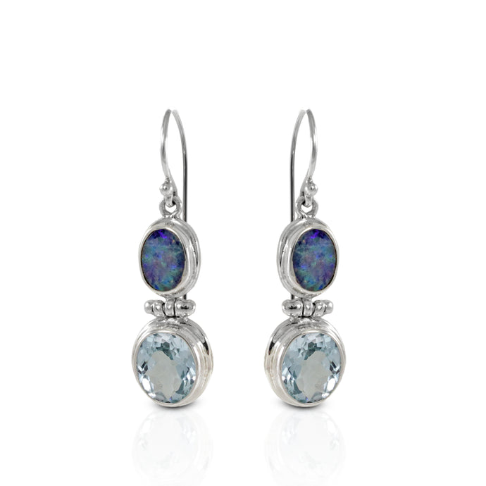 Fire opal earrings with genural blue topaz set in 925 sterling silver, beautiful dangle earring for women - SUVARNASILVERCO.,LTD