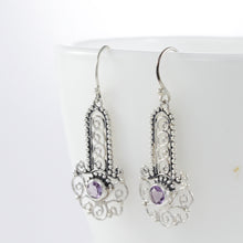 Load image into Gallery viewer, Bali inspired filigree with genuine round amethyst dangle earrings set in 925 sterling silver, beautiful earring for woman - SUVARNASILVERCO.,LTD
