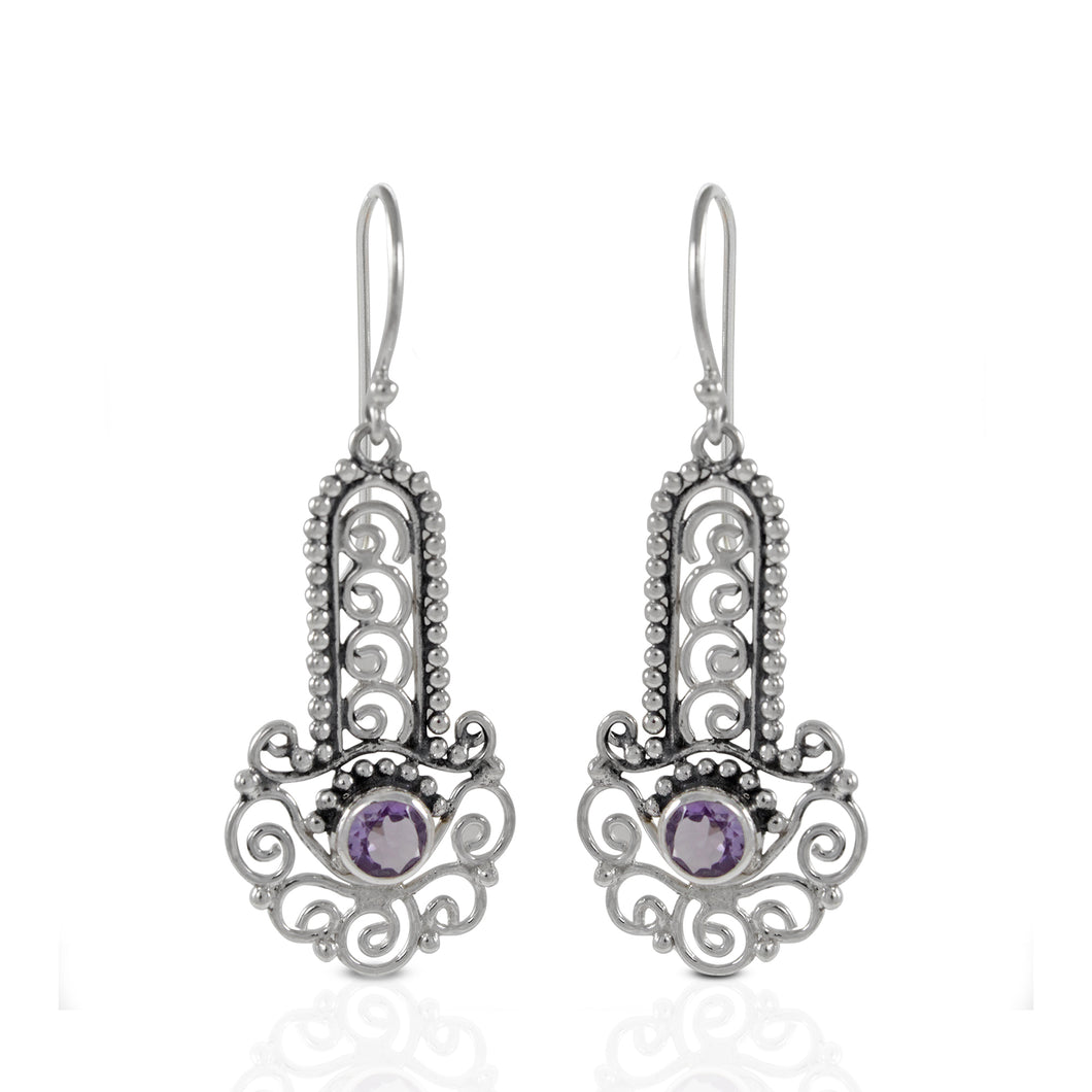 Bali inspired filigree with genuine round amethyst dangle earrings set in 925 sterling silver, beautiful earring for woman - SUVARNASILVERCO.,LTD