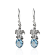画像をギャラリービューアに読み込む, Turtle design dangle drop earrings with genuine blue topaz set in 925 sterling silver, beautiful earrings for woman - SUVARNASILVERCO.,LTD