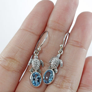 Turtle design dangle drop earrings with genuine blue topaz set in 925 sterling silver, beautiful earrings for woman - SUVARNASILVERCO.,LTD
