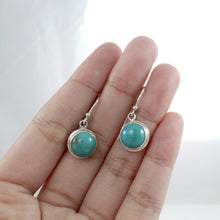 Load image into Gallery viewer, Bezel setting 925 sterling silver dangle earring with genuine touquis - SUVARNASILVERCO.,LTD