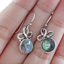 Load image into Gallery viewer, Celtic knot dangle earrings with Natural round abalone set in 925 sterling silver, beautiful dangle earring for women - SUVARNASILVERCO.,LTD