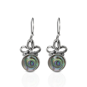 Celtic knot dangle earrings with Natural round abalone set in 925 sterling silver, beautiful dangle earring for women - SUVARNASILVERCO.,LTD