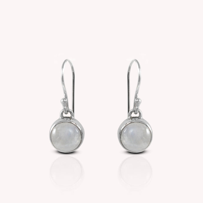 Genuine moonstone set in 925 Sterling silver dangle drop earrings, beautiful round moonstone earring for woman - SUVARNASILVERCO.,LTD