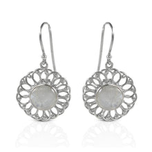 Load image into Gallery viewer, Daisy flower dangle drop earrings with genuine moonstone set in 925 sterling silver, beautiful flower earrings for woman - SUVARNASILVERCO.,LTD
