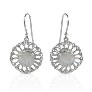Daisy flower dangle drop earrings with genuine moonstone set in 925 sterling silver, beautiful flower earrings for woman - SUVARNASILVERCO.,LTD