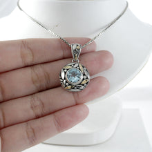 Load image into Gallery viewer, filigree leaf design with premium genuine blue topaz with two tone gold set in 925 sterling silver - SUVARNASILVERCO.,LTD