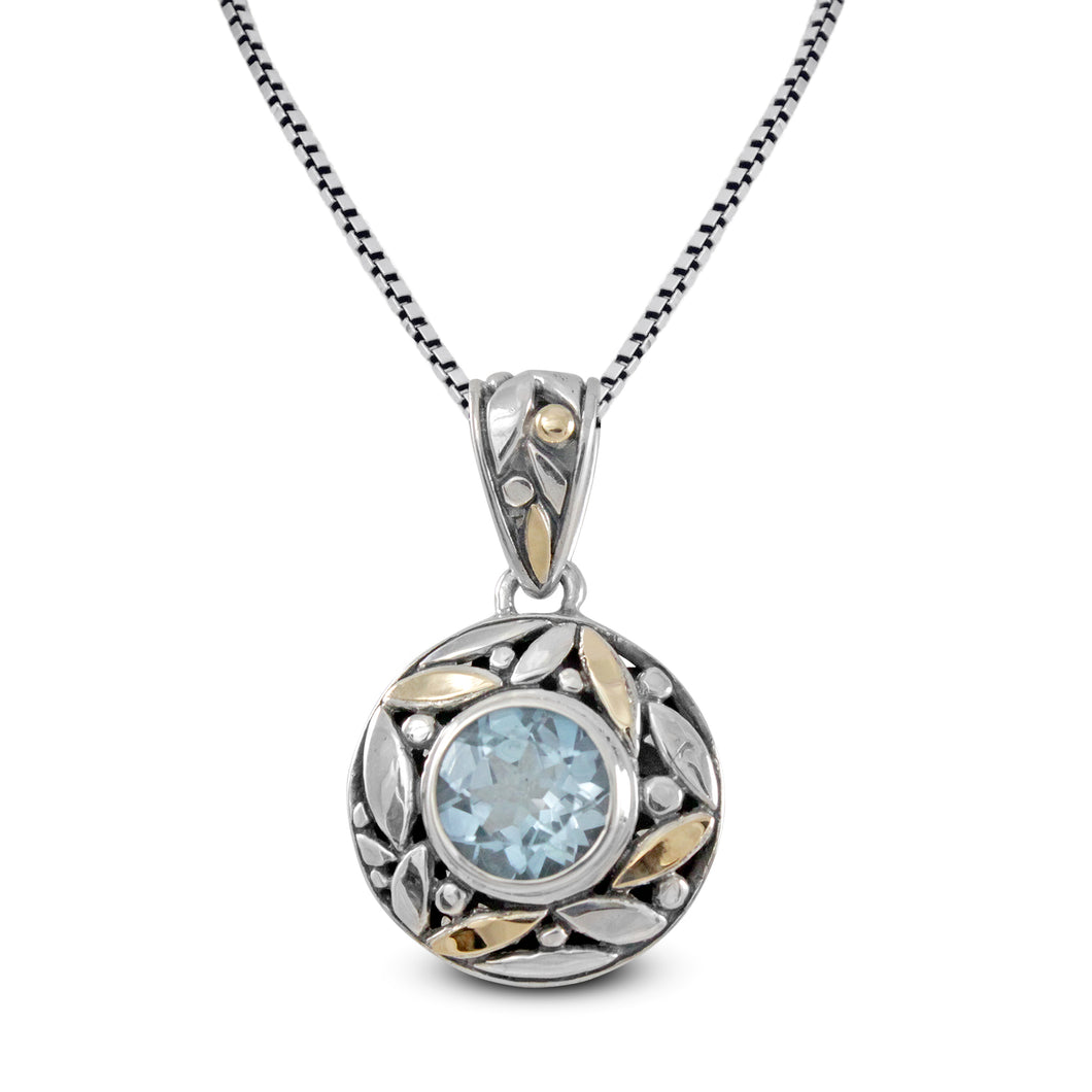 filigree leaf design with premium genuine blue topaz with two tone gold set in 925 sterling silver - SUVARNASILVERCO.,LTD