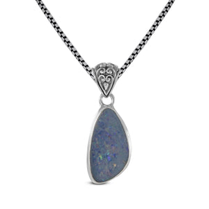 AAA fire doublet opal set in 925 sterling silver pendant, beautiful pendant for women