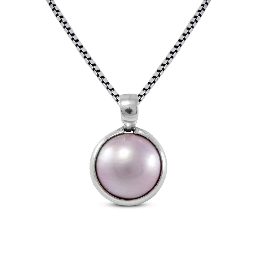 925 sterling silver pendant with natural mabe pink mabe pearl