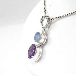 Premium round amethyst with AAA genuine opal  set in 925 Sterling silver dangle drop pendant, beautiful pendant for woman - SUVARNASILVERCO.,LTD