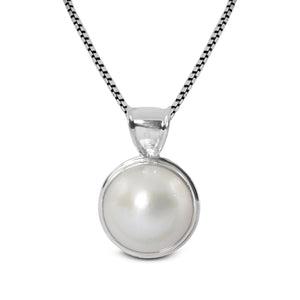 genuine round white mabe set in 925 sterling silver pendant, 15 mm - SUVARNASILVERCO.,LTD