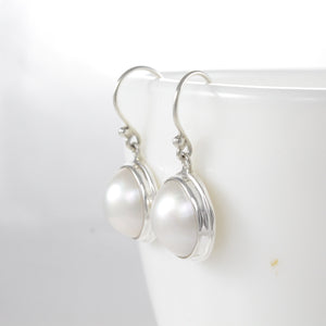 Bezel setting with netural white mabe pearl set in 925 sterling silver dangle earring - SUVARNASILVERCO.,LTD