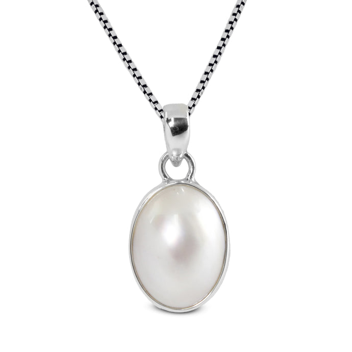 natural oval white mabe set in 925 sterling silver pendant, 12*15 mm - SUVARNASILVERCO.,LTD