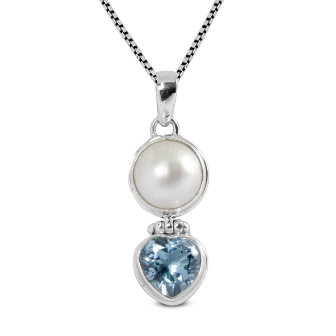 Premium genuine blue topaz with natural white mabe pearl set in 925 Sterling silver dangle drop pendant, beautiful pendant for woman - SUVARNASILVERCO.,LTD