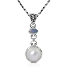 Load image into Gallery viewer, AAA fire doublet opal and round natural white mabe set 925 sterling silver pendant - SUVARNASILVERCO.,LTD