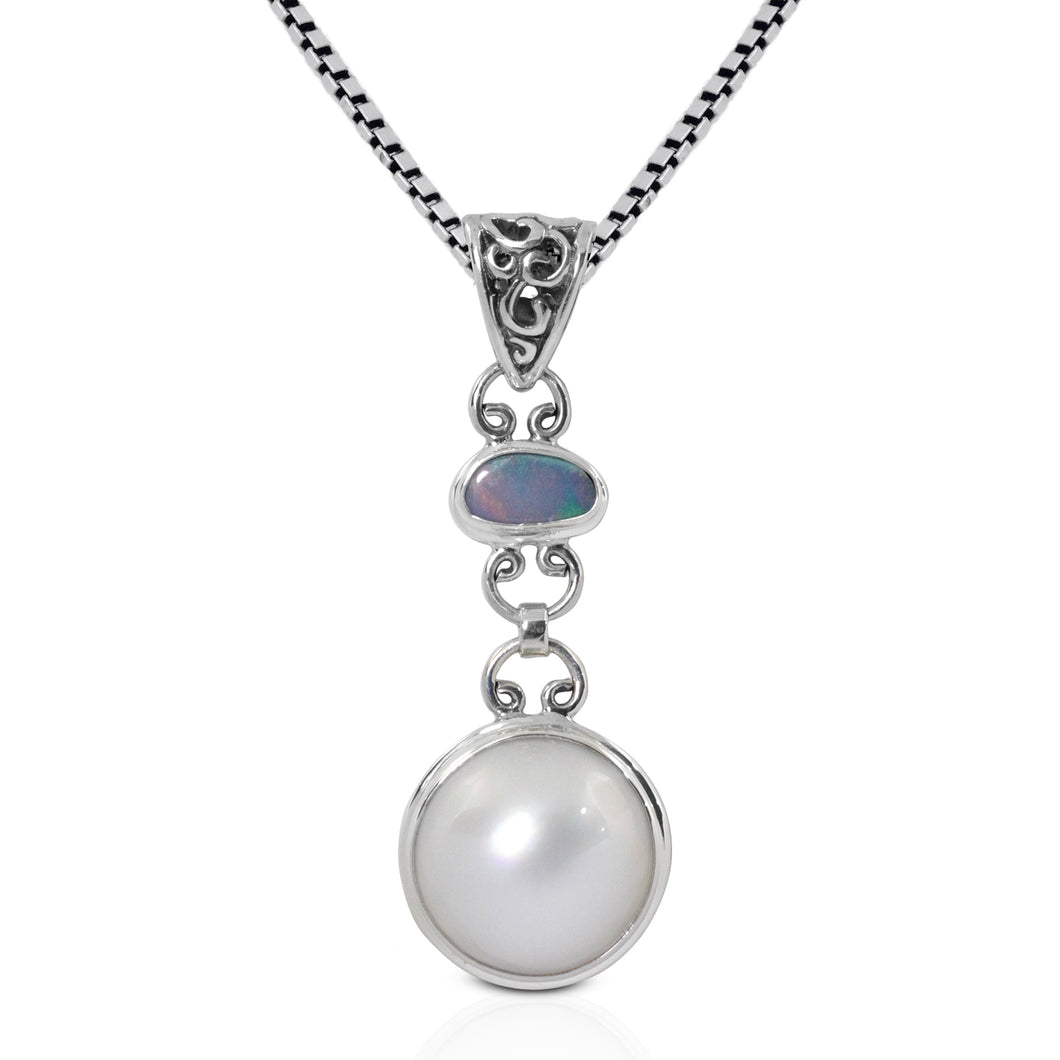AAA fire doublet opal and round natural white mabe set 925 sterling silver pendant - SUVARNASILVERCO.,LTD