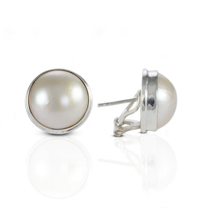 Dyed Mabe Cultured Ear Clip 925 Sterling Silver with 13 mm Round Mabe Pearl - SUVARNASILVERCO.,LTD