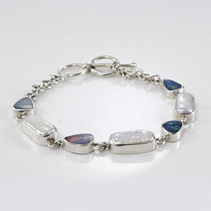 Natural Baroque pearl with doublet fire opal set in sterling silver bracelet, pearl bracelet with opal - SUVARNASILVERCO.,LTD