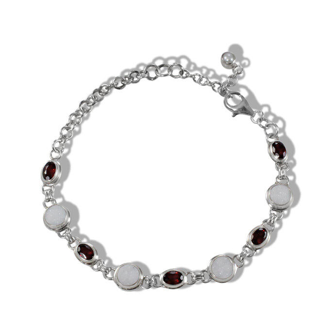 Connecting sterling silver bracelet with genuine red garnet and white druzy agate, gems stone bracelet - SUVARNASILVERCO.,LTD