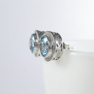 Premium genuine swiss blue topaz with white cubic zirconia ear stud set in 925 sterling silver - SUVARNASILVERCO.,LTD