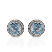 Load image into Gallery viewer, Premium genuine swiss blue topaz with white cubic zirconia ear stud set in 925 sterling silver - SUVARNASILVERCO.,LTD