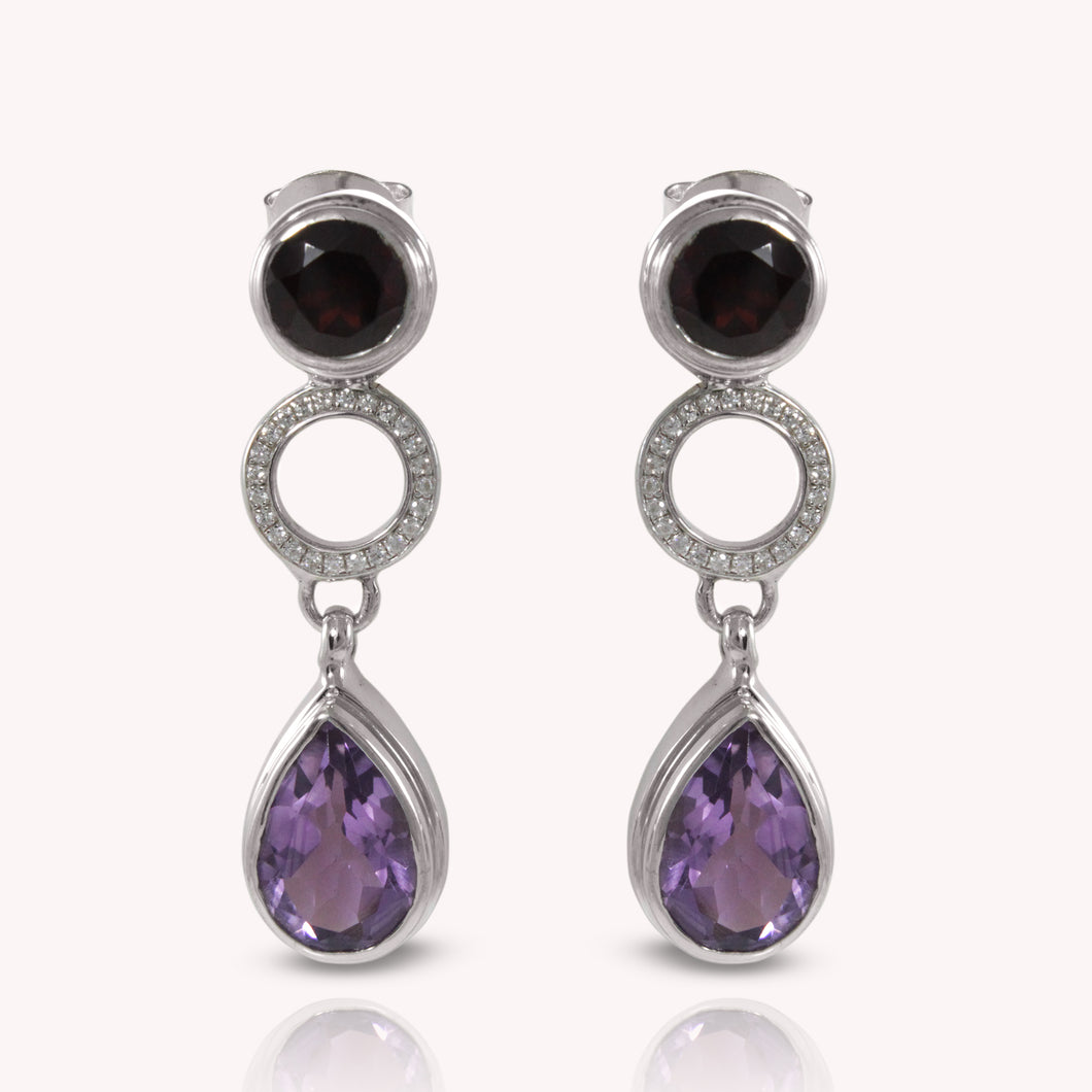 925 Sterling Silver Ear Stud with Genuine Gemstone and White Cubic Circonia - SUVARNASILVERCO.,LTD