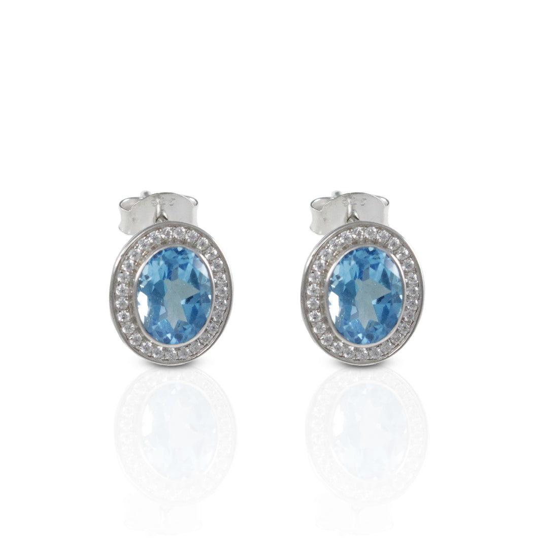925 sterling silver ear stud with genuine blue topaz stone and white circonia, beautiful oval Blue topaz stud earrings - SUVARNASILVERCO.,LTD