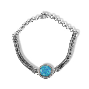 Aurora created opal bracelet with double silver chain and diamond accent, sterling silver bracelet - SUVARNASILVERCO.,LTD