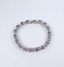 Load image into Gallery viewer, Octagon amethyst bracelet in sterling silver with rhodium finishing - SUVARNASILVERCO.,LTD