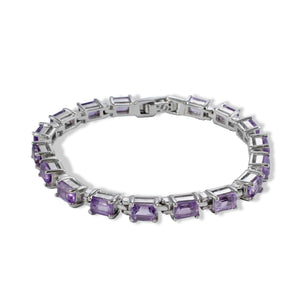 Octagon amethyst bracelet in sterling silver with rhodium finishing - SUVARNASILVERCO.,LTD