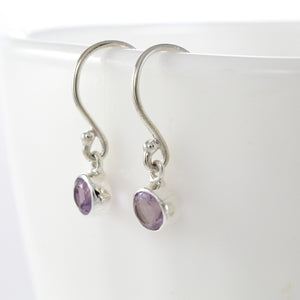 Natural amethyst set in 925 Sterling silver dangle drop earrings, beautiful earring for woman - SUVARNASILVERCO.,LTD