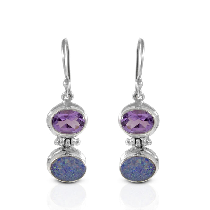 Fire opal earrings with genural amethyst set in 925 sterling silver, beautiful dangle earring for women - SUVARNASILVERCO.,LTD