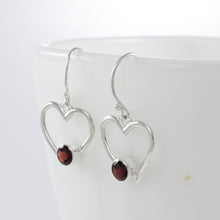 Load image into Gallery viewer, Heart love earring with genuine garnet set in 925 Sterling silver, beautiful earring for woman - SUVARNASILVERCO.,LTD