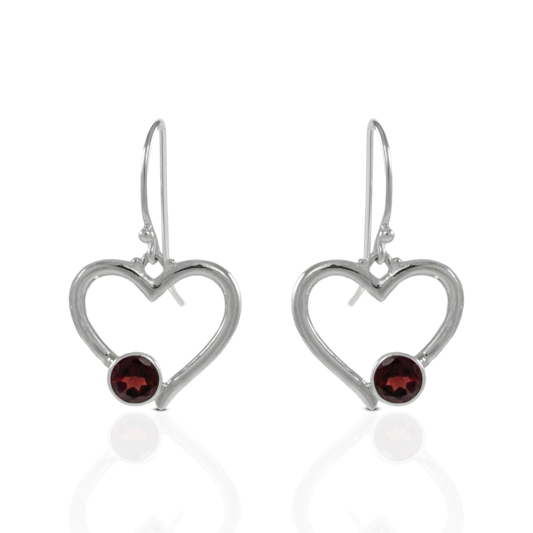 Heart love earring with genuine garnet set in 925 Sterling silver, beautiful earring for woman - SUVARNASILVERCO.,LTD