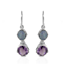 Load image into Gallery viewer, Dangle hook earrings with genuine oval AAA fire doublet opal and oval amethyst set in 925 sterling silver, beautiful dangle earring for women - SUVARNASILVERCO.,LTD