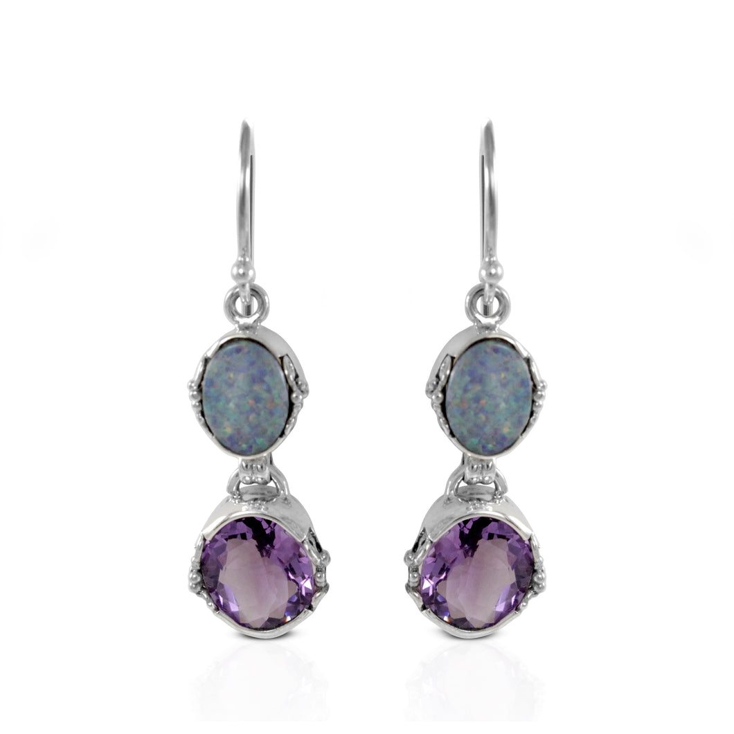 Dangle hook earrings with genuine oval AAA fire doublet opal and oval amethyst set in 925 sterling silver, beautiful dangle earring for women - SUVARNASILVERCO.,LTD