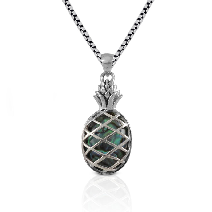 Pineapple pendant with natural abalone set in Bali handmade 925 sterling silver, beautiful pendant for women - SUVARNASILVERCO.,LTD
