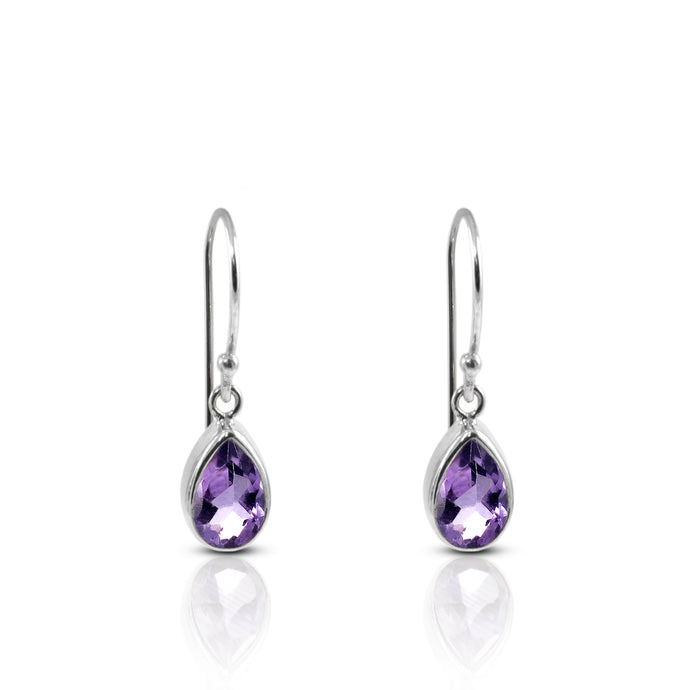 Teardrop earring with genural amethyst set in 925 sterling silver - SUVARNASILVERCO.,LTD