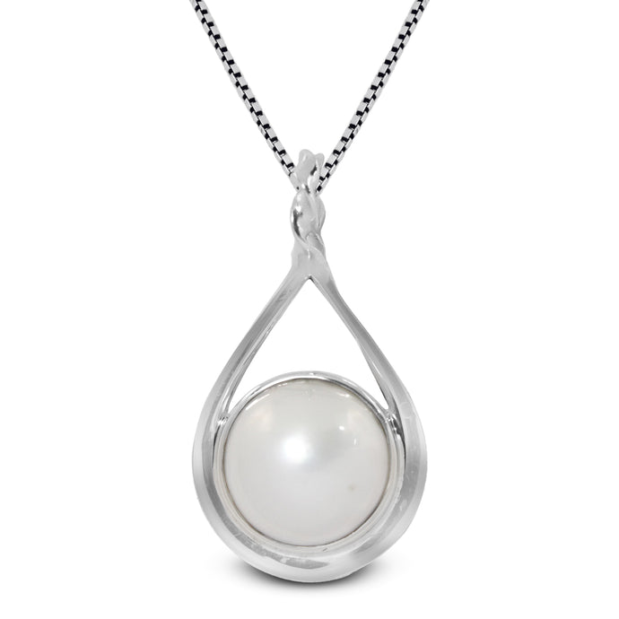 natural round white mabe set in 925 sterling silver pendant, 12 mm - SUVARNASILVERCO.,LTD