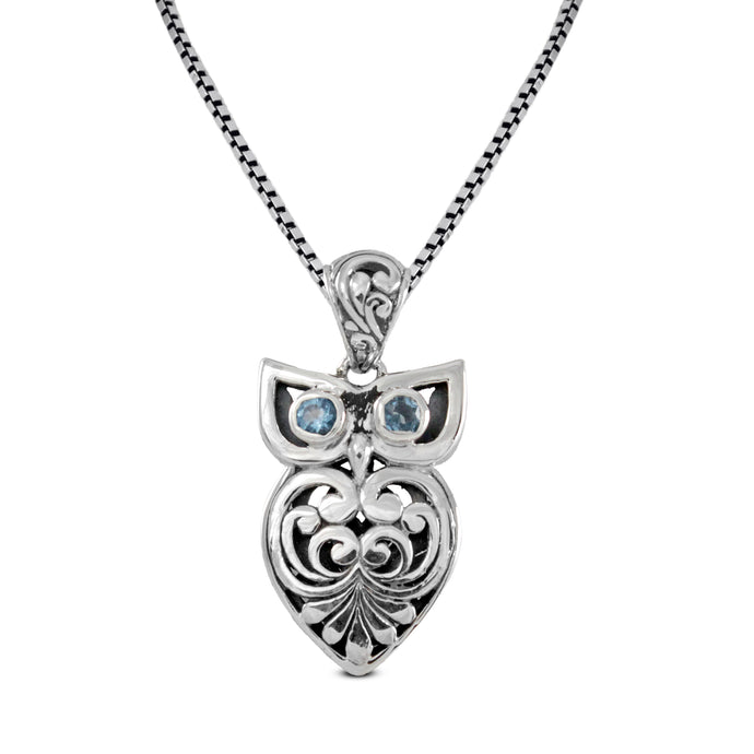Night owl design pendant with genuine blue topaz set in 925 Sterling silver pendant, beautiful pendant for woman - SUVARNASILVERCO.,LTD