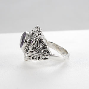 Bali carving ring with genuine round amethyst set in 925 sterling silver, 9 mm round amethyst - SUVARNASILVERCO.,LTD